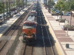 View of BNSF engine #965 from the pedestrian crossing.